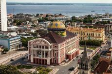 Aerial view of the Amazonas Theater in Manaus, Brazil